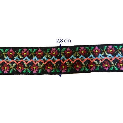 GLX60 - Galão 2,8 cm com bordado em flores.