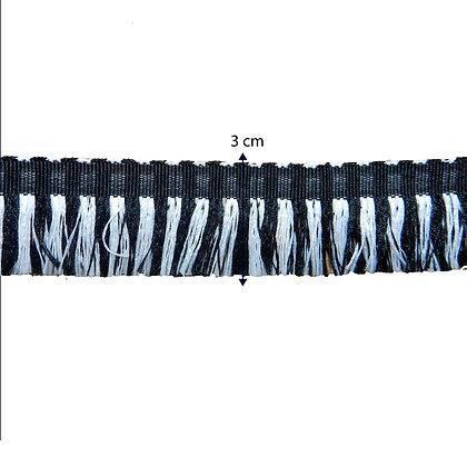 GLX79 - Galão preto com franjas 3 cm
