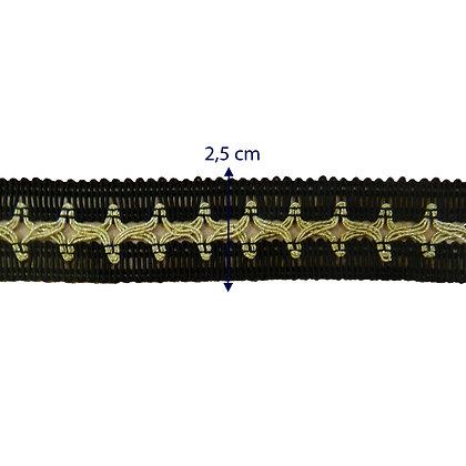 GLX61 - Galão 2,5 cm com dourado.