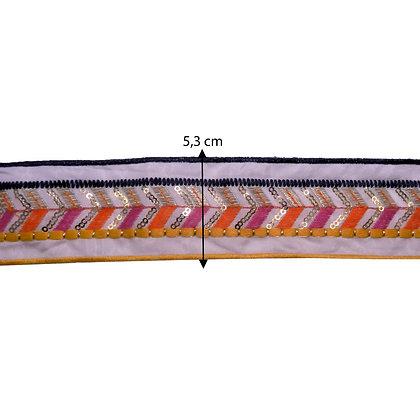 FB44 - Fita bordada Rosa e Laranja - 5 cm
