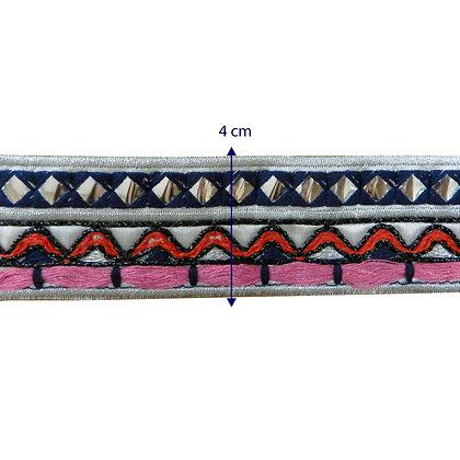 GLX106 - Galão azul bordado com detalhes 4cm