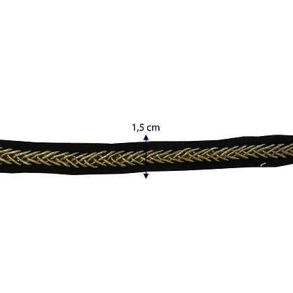GLX54 - Galão preto com detalhe dourado - 1,5 cm