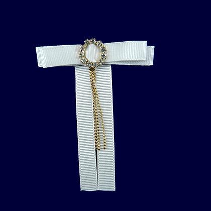 Laço branco com detalhe dourado 8,5 x 6,5 cm