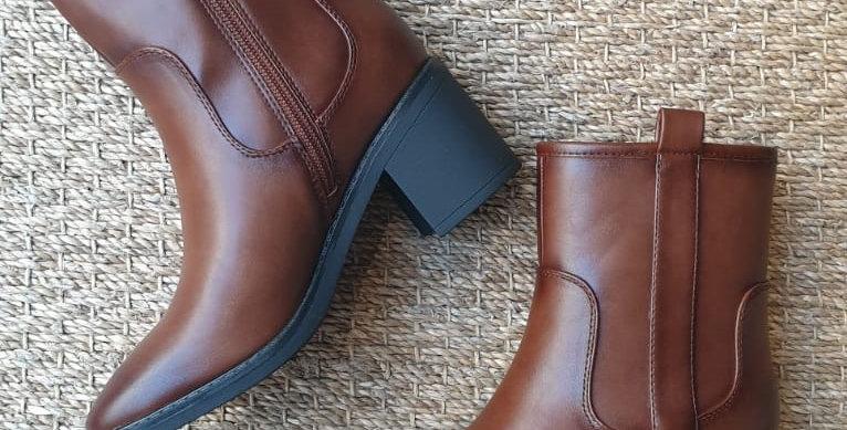 Bottines simili cuir marron