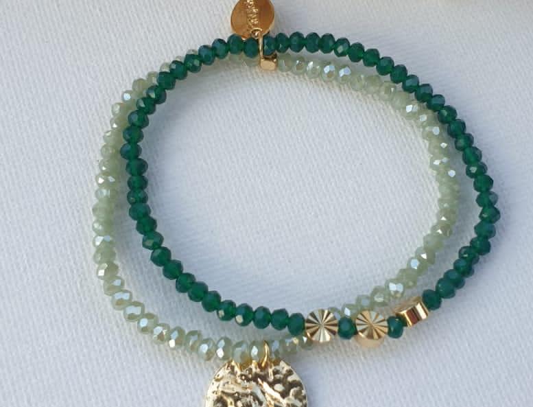 Bracelet perlé or/vert/blanc