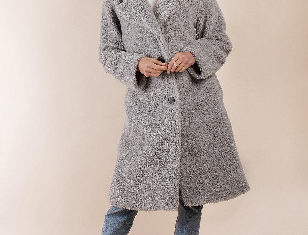 Manteau moumoute gris