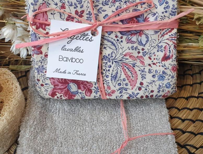 Lingettes lavables motif fleuri - Lot de 2