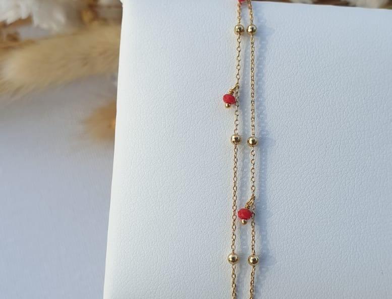 Bracelet or fin et perles