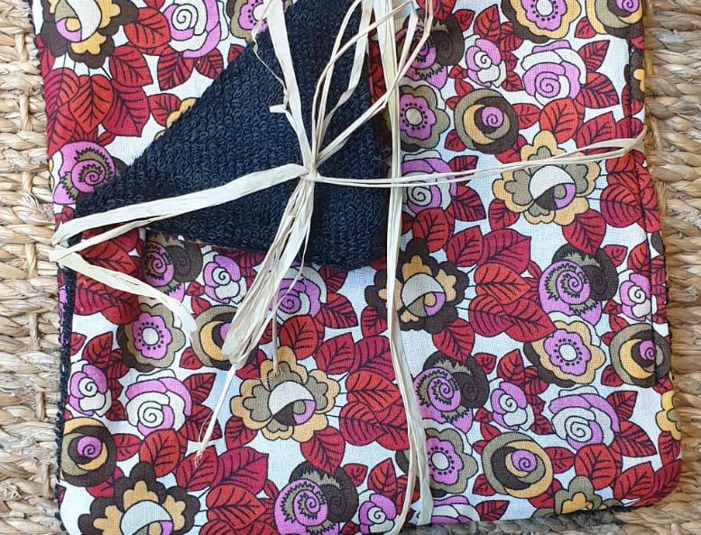 Lingettes lavables fleurs - Lot de 2