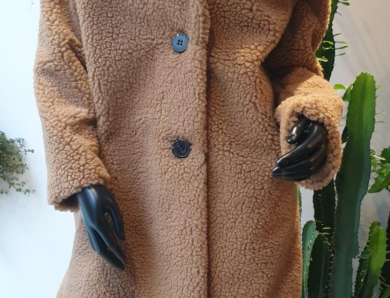 Manteau moumoute camel
