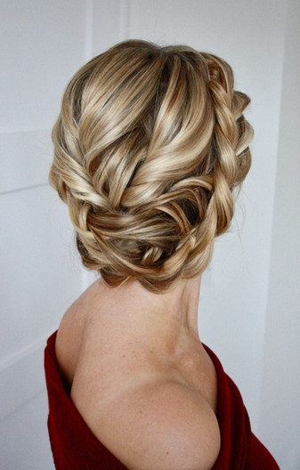 Rope braid, twisted updo