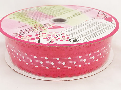 "50 Yards of 1 1/2"" Wired Hot Pink Dot w/ Scalloped Edge Ribbon"