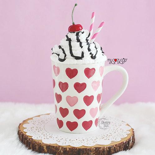 Hearts Latte/Coffee Mug w/Coordinating My Cozy Cap™ Faux Whip Mug Topper