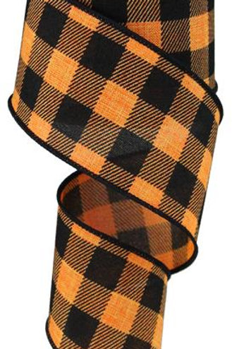 "2.5"" Plaid Check: Orange/Black (10 Yards)"