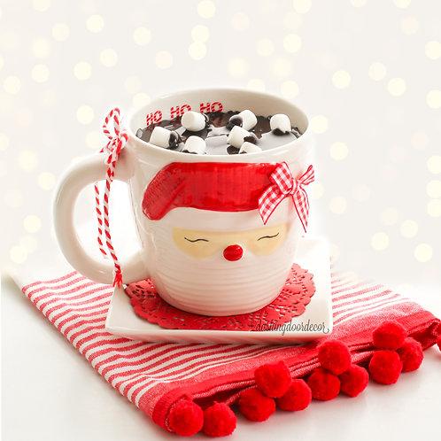 Faux Hot Chocolate Ceramic Santa Mug