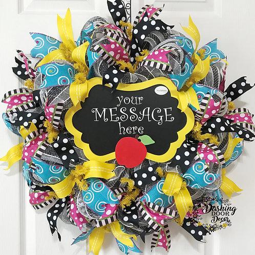 Personalized Back to School Teacher Chalkboard Classroom Deco Mesh Wreath #97