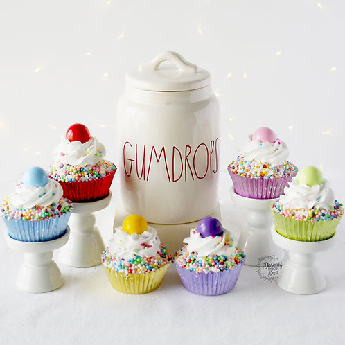 Fake Candyland Gumdrop Christmas Cupcakes for Display