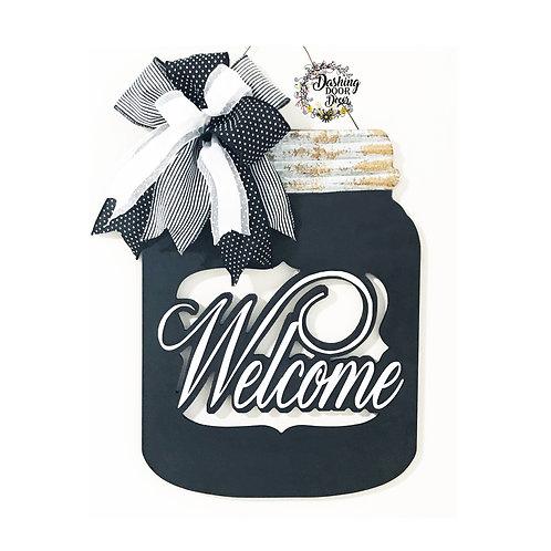 Welcome Mason Jar Door Hanger with Black & White Designer Ribbon Bow