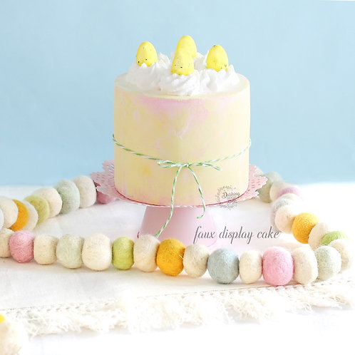 Fake Naked Soft Yellow & Pink Easter Egg Cake for Display