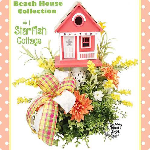 Whimsical Beach House Collection Starfish Cottage Birdhouse Tabletop Centerpiece