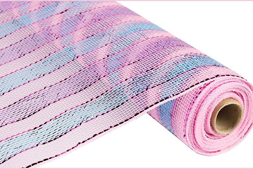 "21"" Poly Deco Mesh: Metallic Pink/Lavender/Turquoise Stripes (10 yards)"