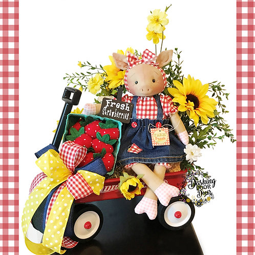 Country Red Radio Flyer Wagon Piggy Doll w/ Strawberries Centerpiece