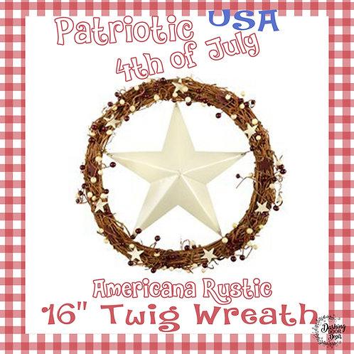 Farmhouse Natural Twig Cream Star Patriotic Fourth of July Wreath