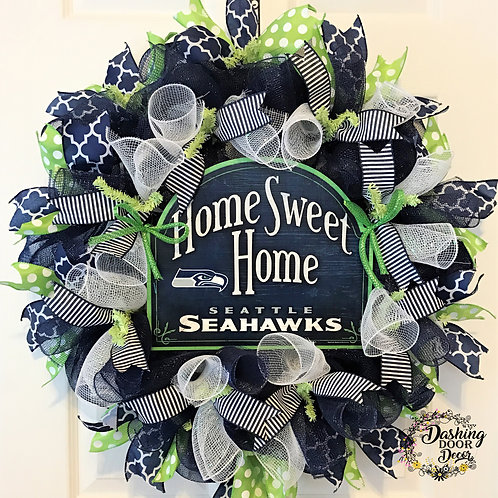 HOME SWEET HOME Seattle Seahawks Deco Mesh Wreath