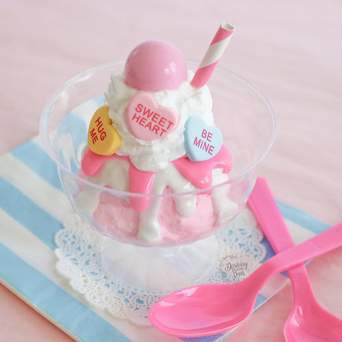 Fake Strawberry Sundae w/Candy Hearts for Display