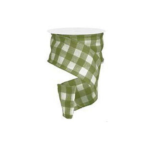 "4"" Faux Burlap Check: Moss Green/Cream (25 Yards)"