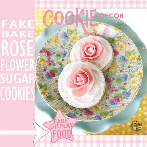 Fake Bake Vanilla Shabby Chic Rose Flower Sugar Cookies