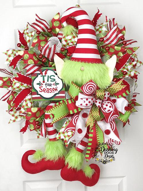 Deluxe Christmas Elf Hat & Legs Tis the Season Deco Mesh Front Door Wreath #126