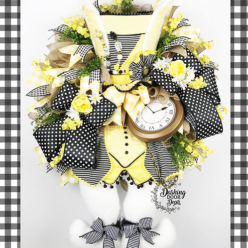 Spring Easter Mad Hatter Bunny Wreath in Black & Yellow