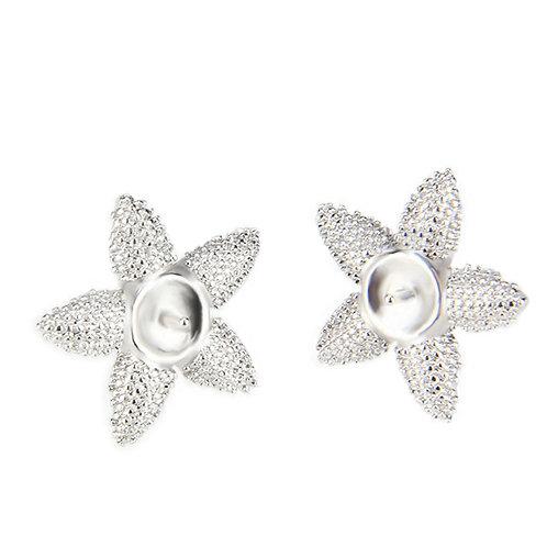 1 Pair of Single Pearl Starfish Earrings