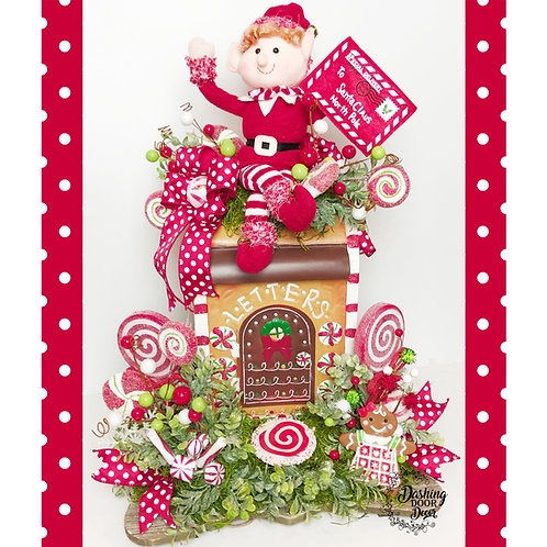 Christmas Elf North Pole Express Gingerbread Santa Mailbox Centerpiece