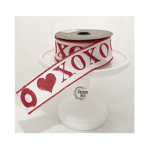 "d Stevens Fine Ribbon: Valentine's Day XOXO Print Linen 1.5""  Ribbon (10 yards)"