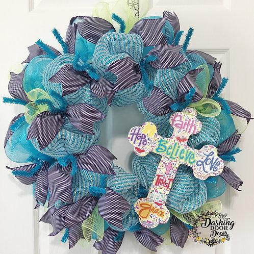 Inspirational EASTER CROSS RUFFLE Deco Mesh Everyday Wreath #80