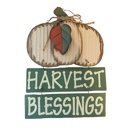Fall Harvest Blessings Pumpkin Sign