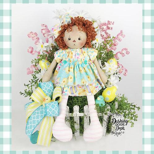 Ginger Doll w/Easter Egg Picket Fence Centerpiece Floral Tabletop Arrangement