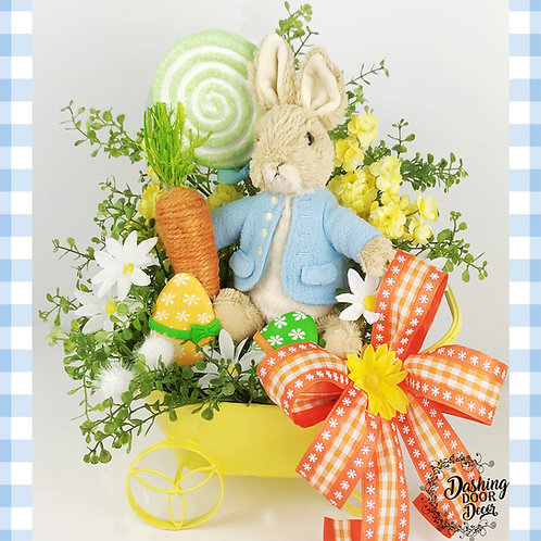 Sweet Bunny w/Lollipop, Easter Eggs & Carrot Tabletop Floral Centerpiece