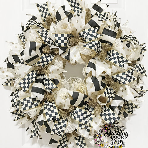Whimsical Everyday Designer Black & Ivory Check Ribbon Deco Mesh Wreath