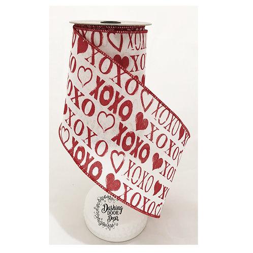 "d Stevens Fine Ribbon: Valentine's Day XOXO 4"" Print Linen Ribbon (10 Yards)"