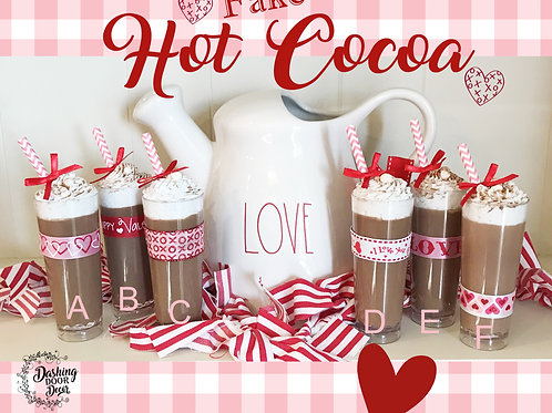 Valentine Fake Food Hot Cocoa Chocolate Latte w/Marshmallows Whipped Cream