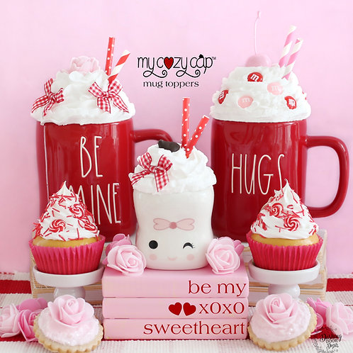 My Cozy Cap™ Valentine Faux Whip Mug Toppers fits Rae Dunn Mugs