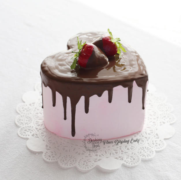 Faux Strawberry Chocolate Drip Cake