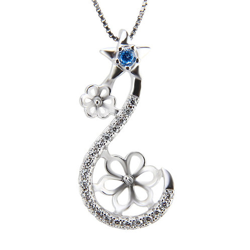 Samantha Duo Sterling Silver Pendant (pearl setting required)