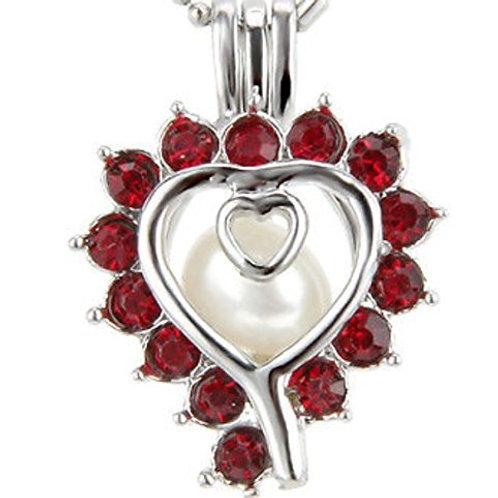 Red Heart Pearl Pendant