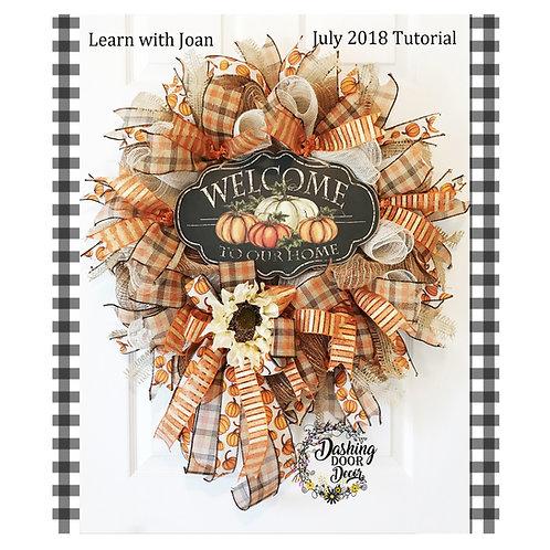 * Autumn * Fall Sunflower & Pumpkins Welcome Deco Mesh Wreath