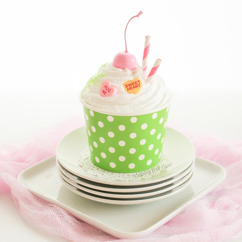 Faux Lime Green & White Polka Dot Ice Cream Sundae