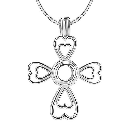 Cross Hearts Pearl Pendant